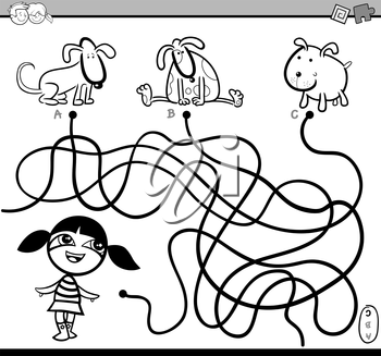 Black and White Cartoon Illustration of Educational Paths or Maze Puzzle Activity with Children Girl and Puppies Coloring Book