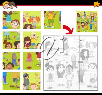 Cartoon Illustration of Education Jigsaw Puzzle Activity for Preschool Children with Teen Kid Characters