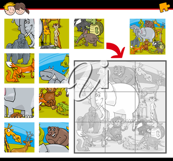 Cartoon Illustration of Education Jigsaw Puzzle Activity for Children with Wild Animal Characters