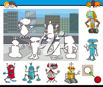 Cartoon Illustration of Educational Activity Task for Children with Robot Characters