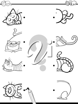 Black and White Cartoon Illustration of Preschool Education Activity of Matching Halves Task with Cat Characters for Coloring
