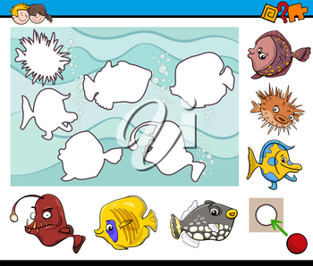 Cartoon Illustration of Educational Activity Task for Children with Sea Life Fish Animal Characters