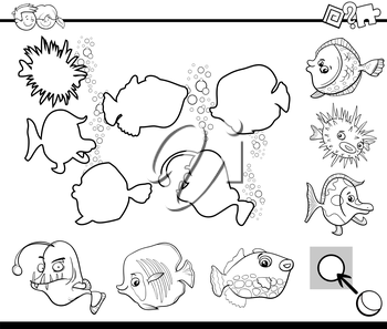 Black and White Cartoon Illustration of Educational Activity Task for Children with Sea Life Fish Animal Characters Coloring Page
