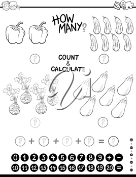Black and White Cartoon Illustration of Educational Mathematical Counting and Addition Activity for Children Coloring Page