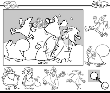 Black and White Cartoon Illustration of Educational Activity for Preschool Children with Santa Claus Characters on Christmas Coloring Page