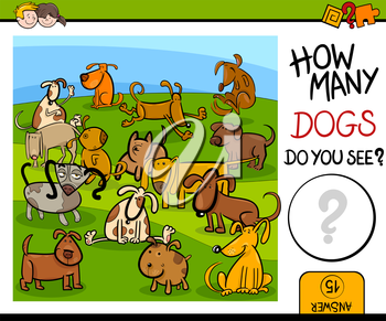 Cartoon Illustration of Educational Counting Game for Children with Cute Dog Characters