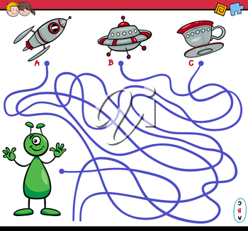 Cartoon Illustration of Paths or Maze Puzzle Activity Game with Alien Character and Ufo