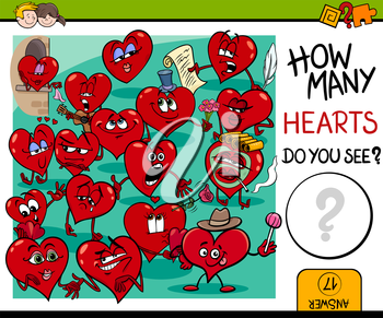 Cartoon Illustration of Educational Counting Activity for Children with Hearts in Love Valentines Day Characters