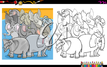 Cartoon Illustration of Elephants Animal Characters Group Coloring Book Activity