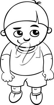 Black and White Cartoon Illustration of Elementary School Age or Preschool Boy Coloring Page