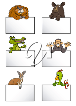 Cartoon Illustration of Animals with White Greeting or Business Card Design Set