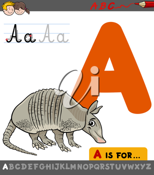 Educational Cartoon Illustration of Letter A from Alphabet with Armadillo Animal Character for Children