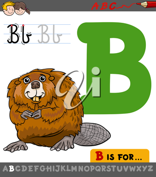 Educational Cartoon Illustration of Letter B from Alphabet with Beaver Animal Character for Children