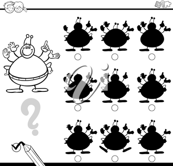 Black and White Cartoon Illustration of Find the Shadow without Differences Educational Activity for Children with Alien Fantasy Character Coloring Page