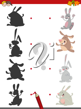 Cartoon Illustration of Find the Shadow Educational Activity Game for Children with Rabbits Animal Characters