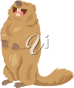 Cartoon Illustration of Happy Marmot Animal Character