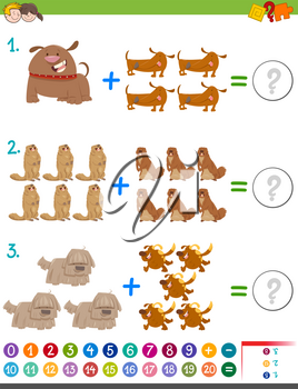 Cartoon Illustration of Educational Mathematical Addition Activity Game for Kids with Wild Animal and Pet Characters