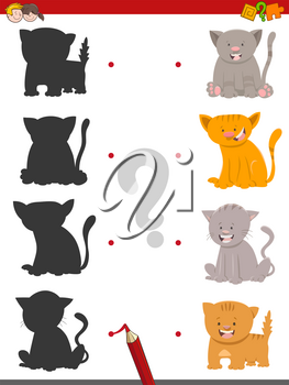 Cartoon Illustration of Find the Shadow Educational Activity Game for Children with Cats or Kittens Animal Characters