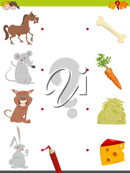 Cartoon Illustration of Education Pictures Matching Activity Game for Children with Animal Characters and their Favorite Food