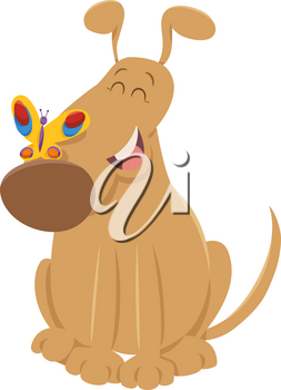 Cartoon Illustration of Funny Dog Animal Character with Butterfly