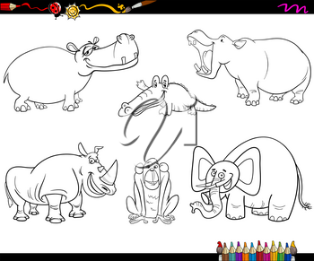 Black and White Cartoon Illustration of Safari Animal Characters Set Coloring Page