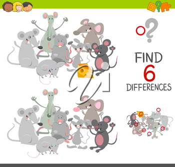 Cartoon Illustration of Spot the Differences Educational Game for Children with Mice Animal Characters Group