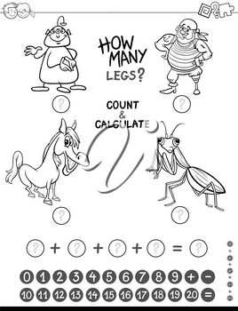 Black and White Cartoon Illustration of Educational Mathematical Counting and Addition Game for Kids with Funny Characters Coloring Page