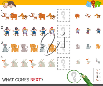 Cartoon Illustration of Completing the Pattern Educational Game for Children