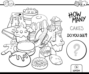Black and White Cartoon Illustration of Educational Counting Activity Game for Children with Cakes Coloring Page