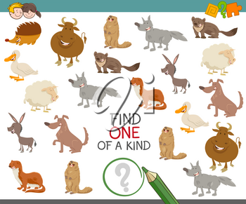 Cartoon Illustration of Find One of a Kind Educational Activity for Children with Animal Characters