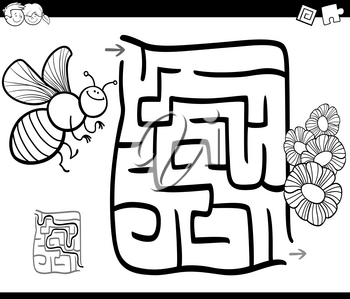 Black and White Cartoon Illustration of Education Maze or Labyrinth Game for Children with Bee and Flowers Coloring Page