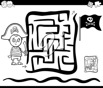 Black and White Cartoon Illustration of Education Maze or Labyrinth Game for Children with Pirate Boy Coloring Page