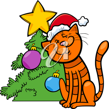 Cartoon Illustration of Cat Animal Character with Christmas Tree