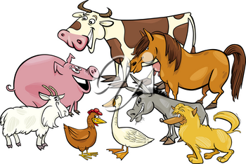 Cartoon Illustration of Farm Animal Characters Group