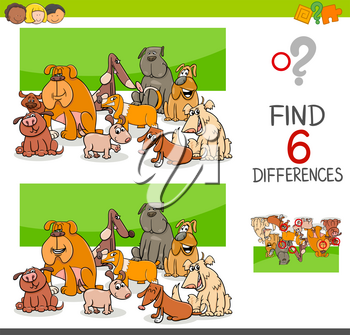 Cartoon Illustration of Spot the Differences Educational Game for Children with Dog Animal Characters Group