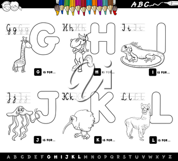 Black and White Cartoon Illustration of Capital Letters Alphabet Set with Animal Characters for Reading and Writing Education for Children from G to L Coloring Book