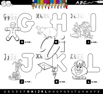 Black and White Cartoon Illustration of Capital Letters Alphabet Educational Set for Reading and Writing Learning for Children from G to L Coloring Book