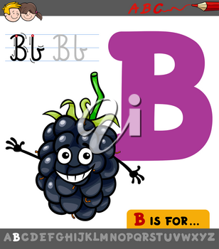 Educational Cartoon Illustration of Letter B from Alphabet with Blackberry Fruit Character for Children