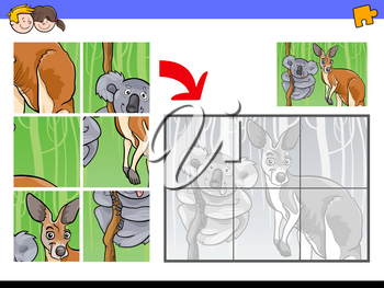 Cartoon Illustration of Educational Jigsaw Puzzle Activity Game for Children with Koala and Kangaroo Animal Characters