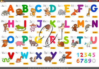 Cartoon Illustration of Capital Letters Alphabet Set with Animal Characters for Reading and Writing Education for Children