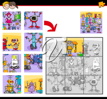 Cartoon Illustration of Educational Jigsaw Puzzle Activity Game for Children with Robots Fantasy Characters