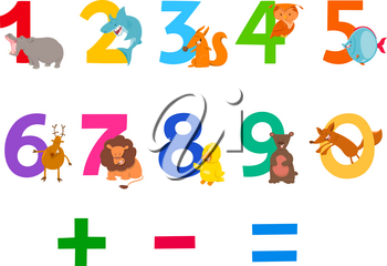 Cartoon Illustration of Numbers Set from Zero to Nine with Funny Wild Animal Characters