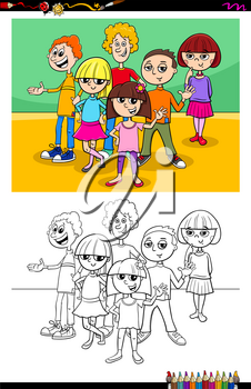 Cartoon Illustration of Children and Teens Characters Group Coloring Book Activity
