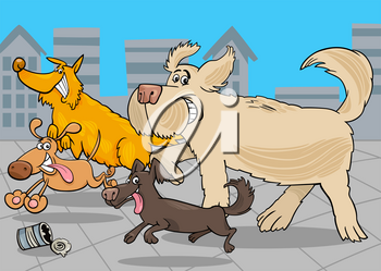 Cartoon Illustration of Funny Running Dogs Animal Characters Group