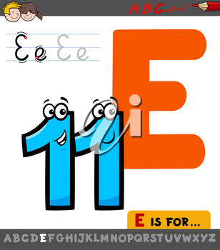 Educational Cartoon Illustration of Letter E from Alphabet with Eleven Number for Children