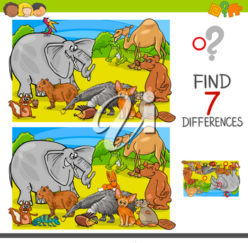 Cartoon Illustration of Finding Seven Differences Between Pictures Educational Activity Game for Children with Animal Characters Group