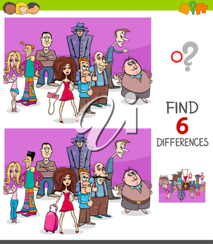 Cartoon Illustration of Finding Six Differences Between Pictures Educational Task for Children with People Characters Group