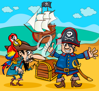 Cartoon Illustrations of Pirate Characters with Ship on Treasure Island