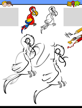 Cartoon Illustration of Drawing and Coloring Educational Activity for Kids with Macaw Parrot Bird Animal Character