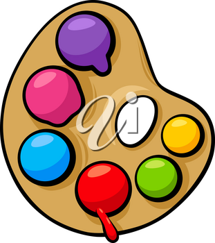 Cartoon Illustration of Art Palette with Colorful Paints Clip Art